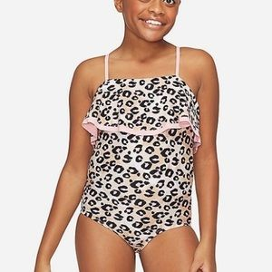 NWT Justice Cheetah Flounce One piece swimsuit